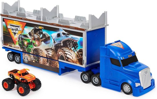 Monster Jam, officiële 2-in-1 transformerende Hauler-speelset 1:64 - Met exclusieve metalen El Toro Loco-monstertruck