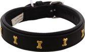 Dielay - Luxe Halsband voor Honden - Botten - Echt Leer / Leder - Maat XS - 44x2 cm - Zwart