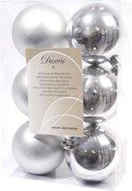 Decoris kerstballen – 6 stuks – kunststof - 8cm