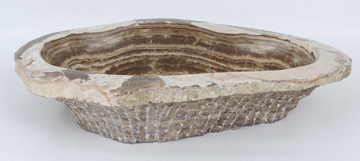 Handgemaakte natuursteen waskom travertin bruin beige ruwe randen