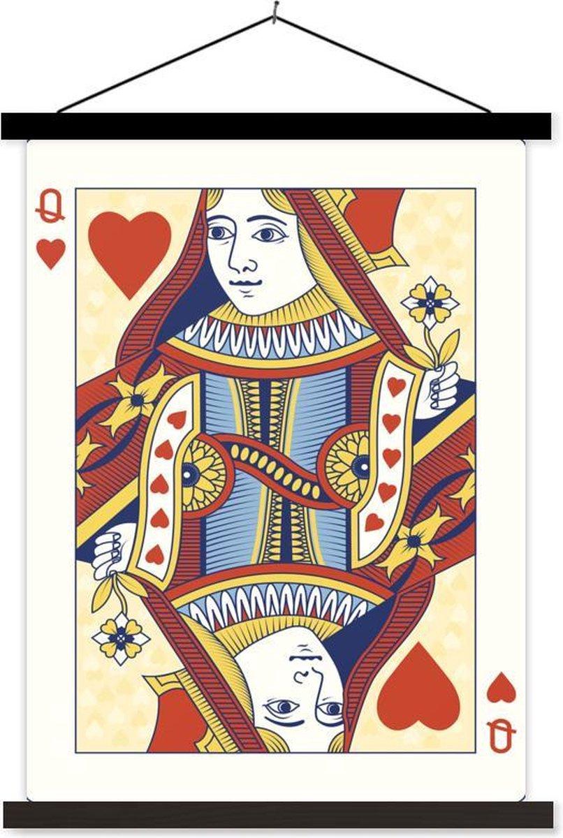 Ge llustreerde speelkaart van een harten koningin textielposter latten zwart 60x80 cm - Foto print op schoolplaat (wanddecoratie woonkamer/slaapkamer)
