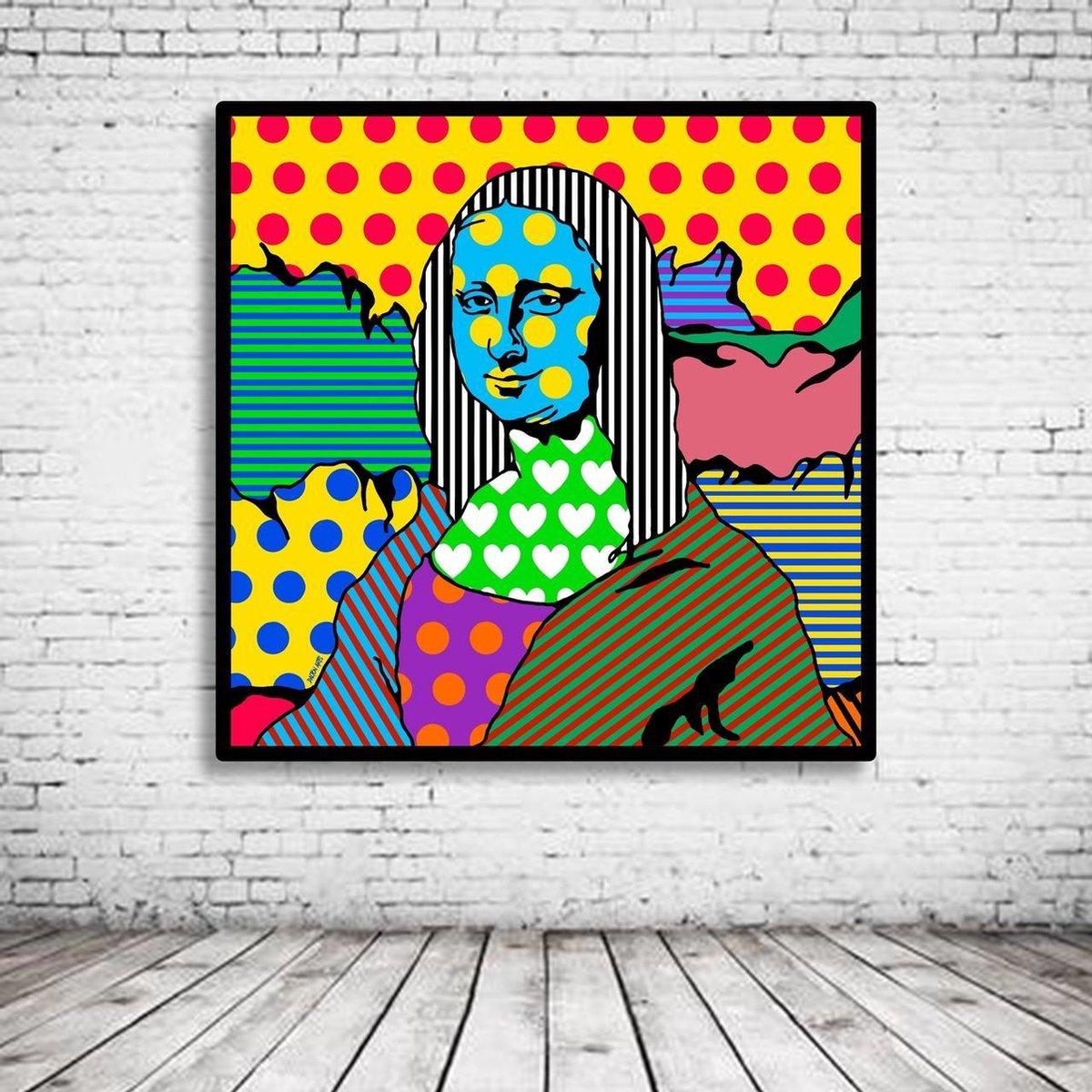 Pop Art Mona Lisa Poster in lijst - 95 x 95 cm Fotopapier Mat 180 gr Framed - Popart Wanddecoratie