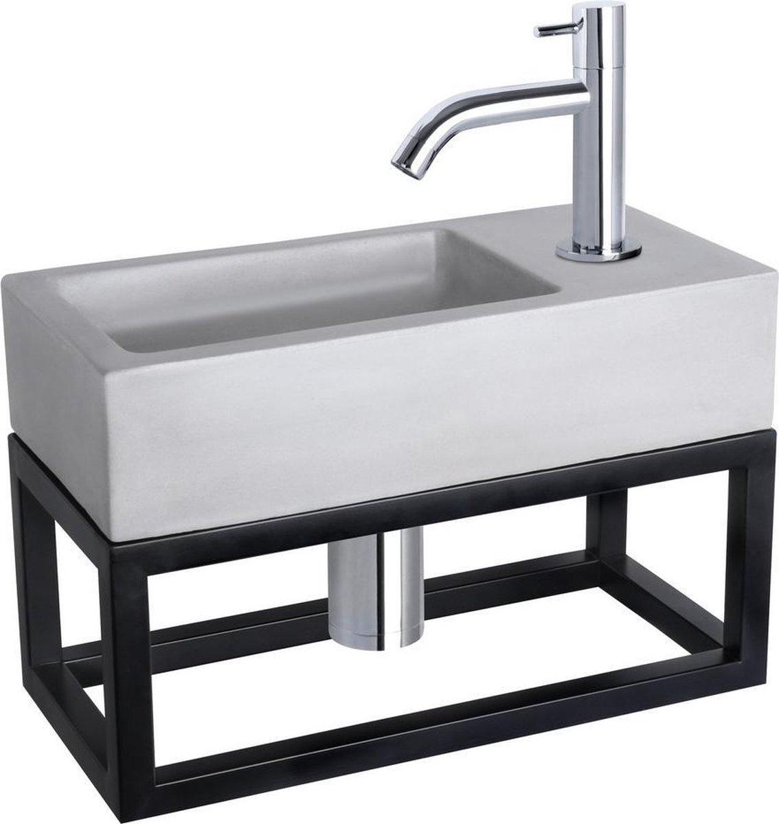 Differnz Ravo Fonteinset - Beton lichtgrijs - Kraan gebogen chroom - Met handdoekrek - 38.5 x 18.5 x 9 cm