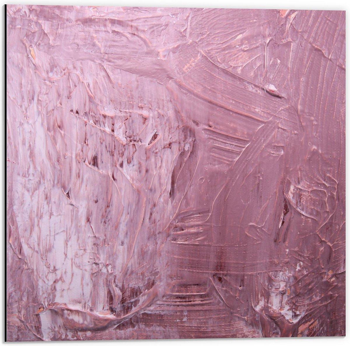 Dibond - Roze Plakkaat Verf - 50x50cm Foto op Aluminium (Wanddecoratie van metaal)