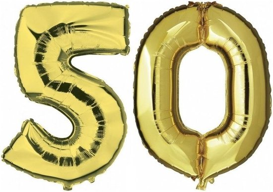 50 jaar gouden folie ballonnen 88 cm leeftijd/cijfer - Leeftijdsartikelen 50e verjaardag versiering - Heliumballonnen