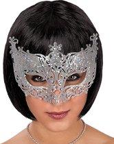 CARNIVAL TOYS - Zilverkleurig Venetiaans masker met kant voor volwassenen - Maskers > Venetiaanse maskers