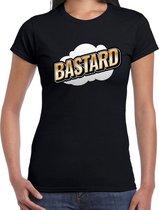 Fout Bastard t-shirt in 3D effect zwart voor dames - fout fun tekst shirt / outfit - bastards - popart M