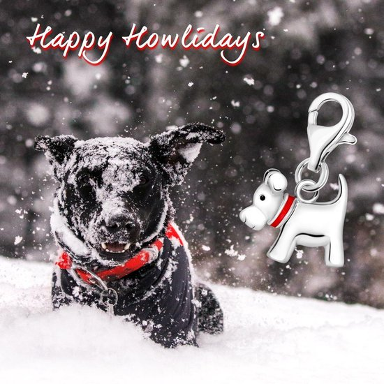 Quiges - Charm Bedel Hanger 3D Hond - Dames - zilverkleurig - QHC002 - Quiges