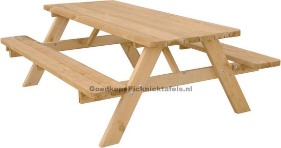 Large Picknicktafel Tuintafel 6 Persoons De Luxe 180cm Lang Opklapbare Zitbanken - Kindervriendelijke Afgeronde Hoekplanken