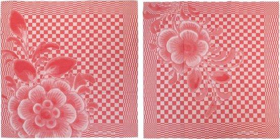 Theedoek set(2) Hollandse Bloemen 65x65 cm 100% katoen