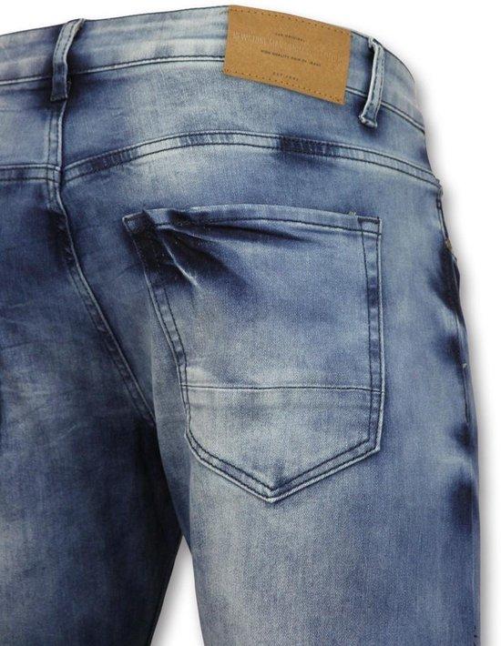 True Rise Broeken met scheuren mannen Biker jeans heren skinny 3002 16 Blauw Heren Jeans W30