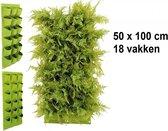 Verticale tuin met 18 grote vakken - 100cm x 50cm- hangende tuin - groen - groene wand - groene muur - verticale moestuin zakken - plantenhanger balkon - plantenbak - plantenzak, 1 x 0.5 meter, groen