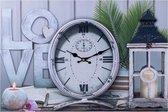 Decopatent® XL Canvas Schilderij Klok - Wandklok - LOVE & LANTAARN - Muur Schilderijen met Klok - Woonkamer - Keuken - 60 x 40 Cm