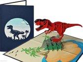 Popcards popupkaarten – Tyrannosaurus Dinosaurus T-Rex Jurassic Verjaardag Felicitatie pop-up kaart 3D wenskaart