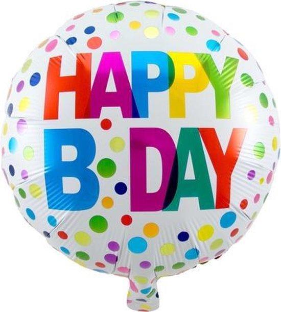 Folie cadeau sturen helium gevulde ballon Gefeliciteerd/Happy Birthday stippen 45 cm - Folieballon verjaardag versturen/verzenden