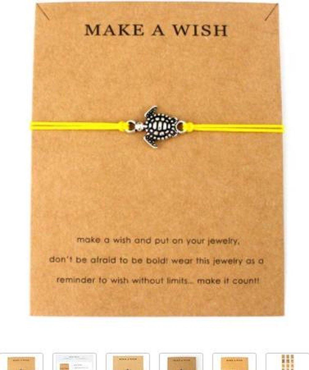 Armband make a wish - geel - hanger schilpad