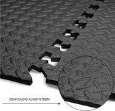 ZWEMBAD ONDERGROND fitness mat Antraciet - rubber tegels  - 6x matje 40x40 - multifunctionele mattenset-vloermat-puzzelmat-fitness-zwembad