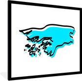 Foto in lijst - Blauwe illustratie van Guinee-Bissau met zwarte omlijning fotolijst 40x40 cm - Poster in lijst (Wanddecoratie woonkamer / slaapkamer)