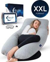 Diley Dreams® Zwangerschapskussen – Zijslaapkussen – Lichaamskussen - Voedingskussen – Body Pillow – Afneembare hoes – 280cm – Extra groot - XXL