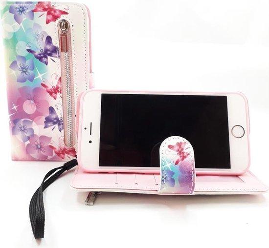 Apple iPhone SE 2020 boekhoesje wit met vlinders en bloemen Hoesje met pasjesflip en rits voor kleingeld en polsbandje  SE 2020, dus geschikt voor de nieuwe iPhone SE 2020