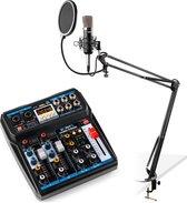 Podcast starterset - Vonyx podcast starterset met CMS400 studiomicrofoon met verstelbare microfoonarm en VMM-P500 USB mixer met Bluetooth - Complete set, plug-and-play!