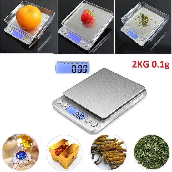 Professionele Digitale Mini Pocket Keuken Precisie Weegschaal - Op Batterij - 0,1 MG tot 2000 Gram - Ultra Nauwkeurige Zakweegschaal - LCD Display