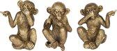 Decoratie figuur apen ( set van 3 ) | 10*33*16 cm | Goudkleurig | Kunststof | Apen | Clayre & Eef | 6PR2448