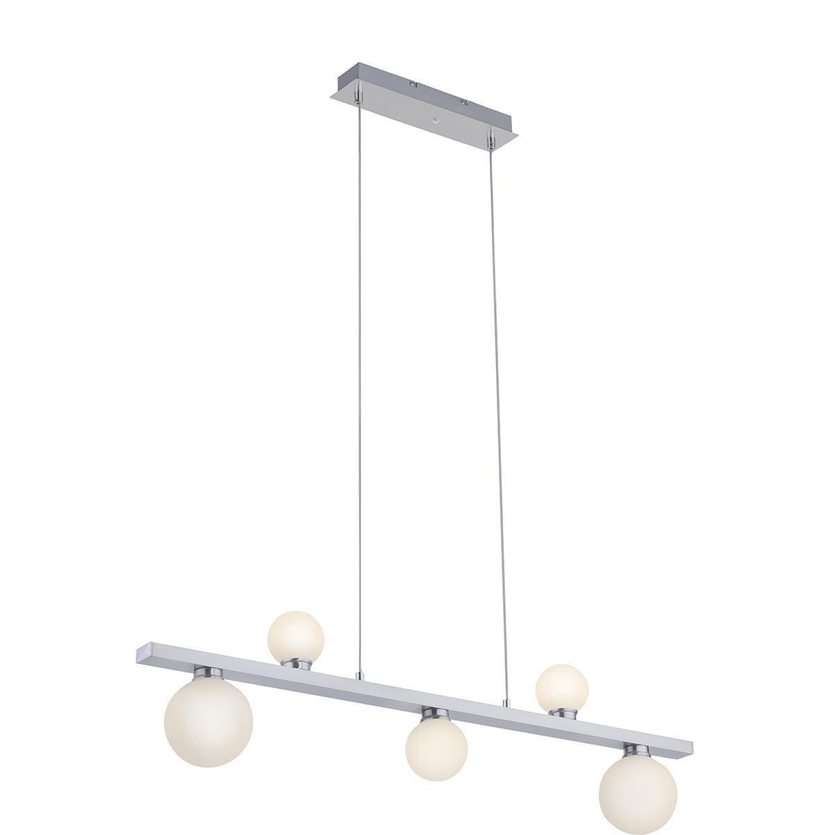 LED Hanglamp WiZ - Smart LED - Trion Dulpio - 15W - Aanpasbare Kleur - 5-lichts - Dimbaar - Rechthoek - Mat Nikkel - Aluminium - BSE