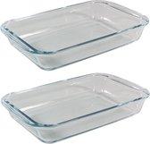 2x Stuks rechthoekige glazen ovenschalen 1,6 liter 29 x 17,5 x 5 cm - Ovenschotel schalen - Bakvorm