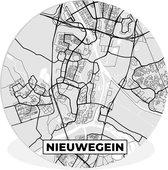 Wandcirkel - Muurcirkel Binnen - ⌀ 30 cm - Kunststof - Stadskaart - Nieuwegein - Grijs - Wit