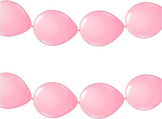 3x stuks feestversiering - Ballonnen slinger lichtroze 3 meter - roze versiering/feestartikelen