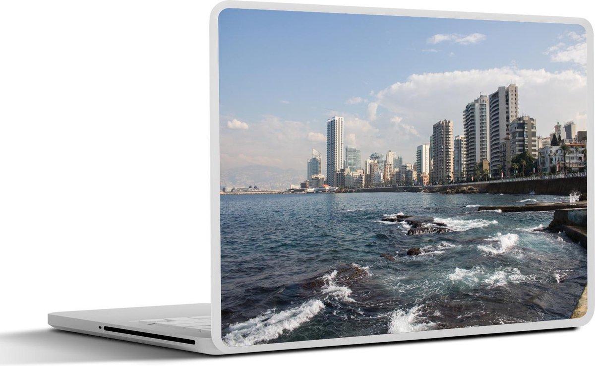 Laptop sticker - 15.6 inch - Uitzicht op de kustlijn van Beiroet in Libanon
