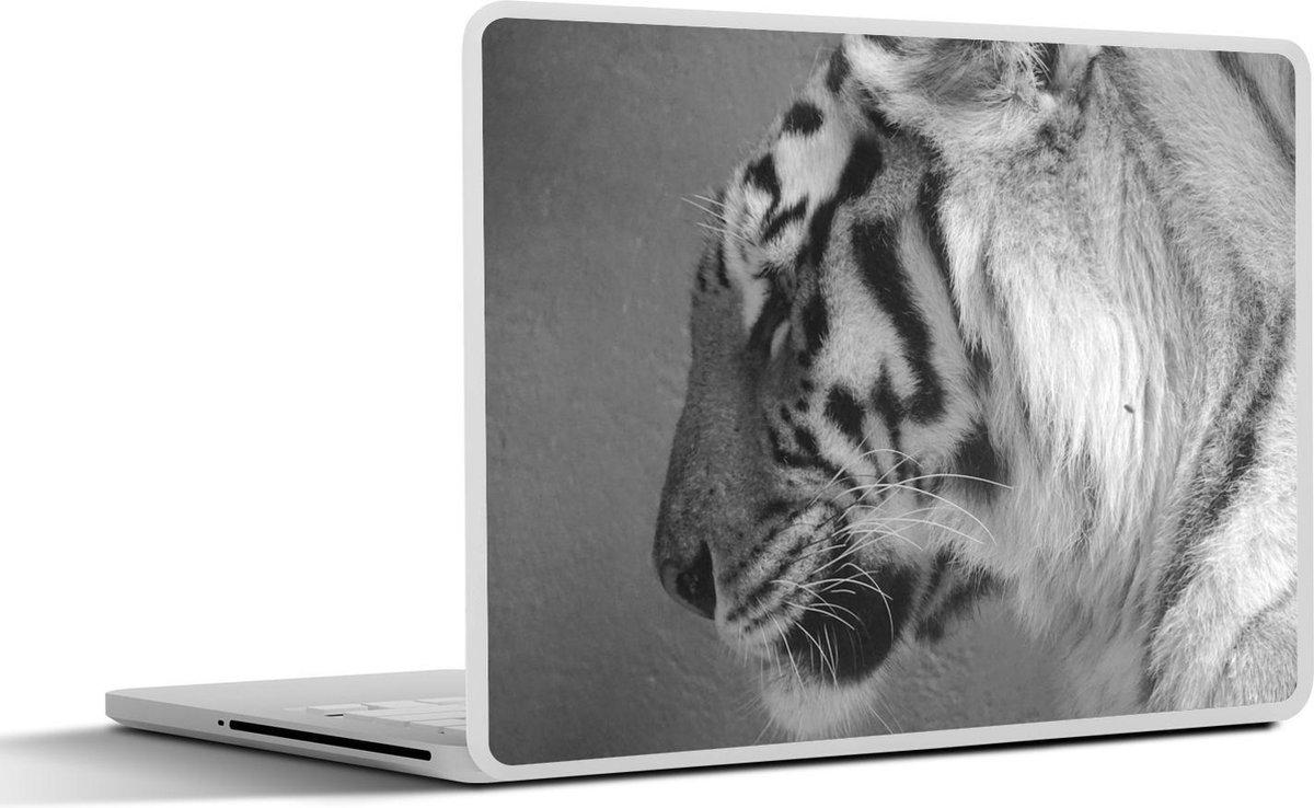 Laptop sticker - 10.1 inch - Tijger - Dieren - Zwart - Wit