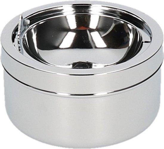 Zilveren klepasbak/terrasasbak 11 cm - Buiten asbakken - Tafelaccessoires - Tuin artikelen