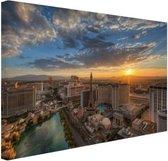 Zonsopkomst Las Vegas Canvas 120x80 cm - Foto print op Canvas schilderij (Wanddecoratie woonkamer / slaapkamer) / Steden Canvas Schilderijen