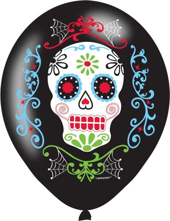 AMSCAN - 6 latex Día de los Muertos ballonnen - Decoratie > Ballonnen