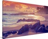 Het strand van Itapuã in São Salvador in Brazilië Canvas 160x80 cm - Foto print op Canvas schilderij (Wanddecoratie woonkamer / slaapkamer)