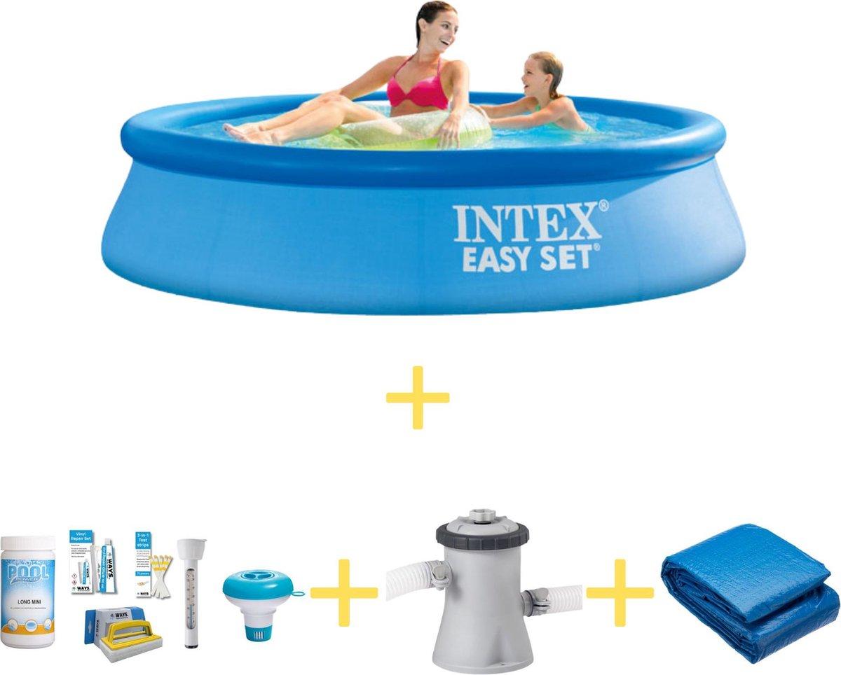 Intex Zwembad - Easy Set - 244 x 61 cm - Inclusief WAYS Onderhoudspakket, Filterpomp & Grondzeil