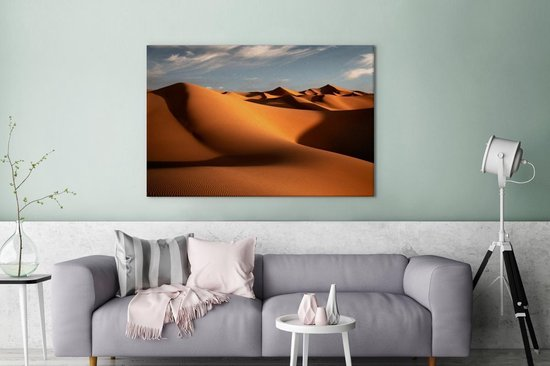 Marokkaanse duinen Erg Chebbi tijdens de ochtend Canvas 120x80 cm - Foto print op Canvas schilderij (Wanddecoratie woonkamer / slaapkamer)