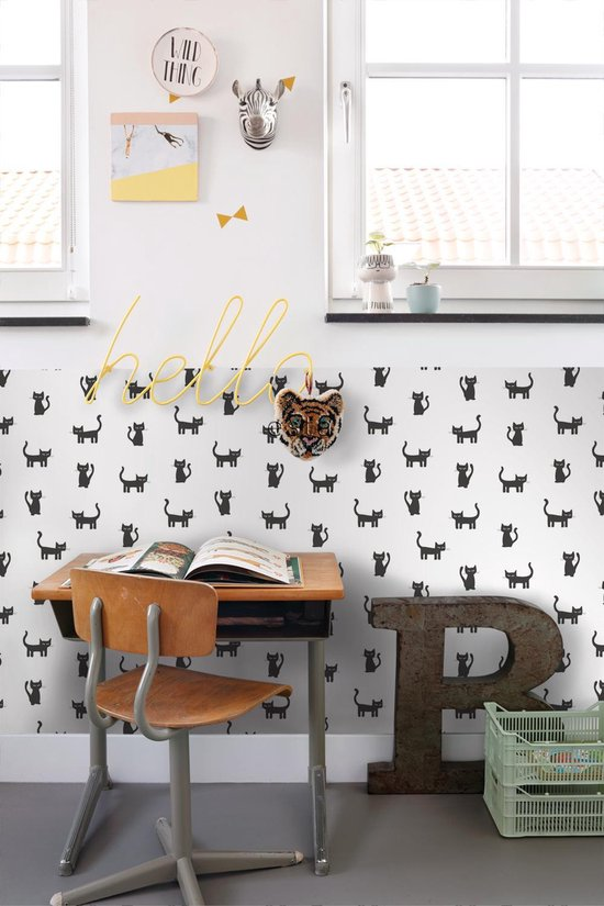 ESTAhome behang katjes zwart en wit - 138928 - 53 cm x 10.05 m - ESTAHome