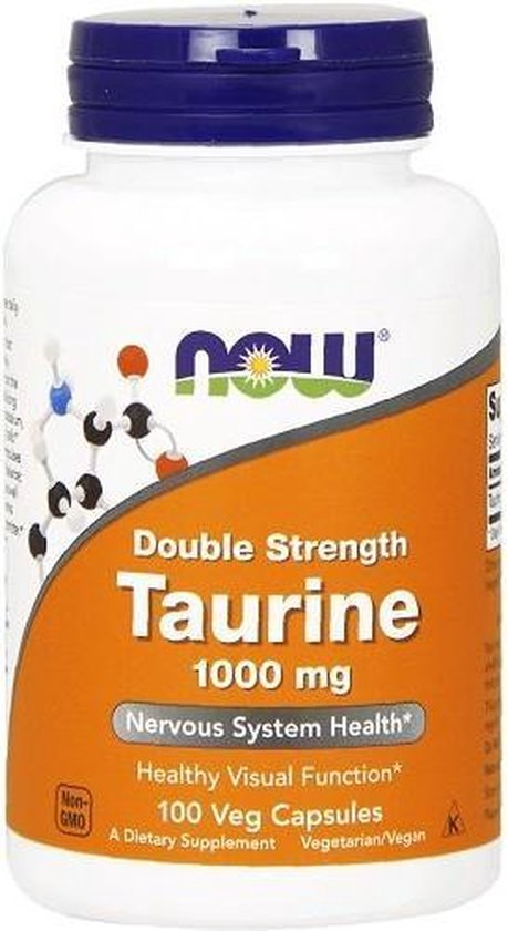Now Foods, Taurine, Dubbel sterk, 1,000 mg, 100 capsules