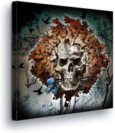 Skull And Leaves Canvas Print 80cm x 80cm