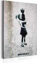 Schilderij - Bom knuffel, Zwart/Wit (banksy)