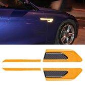 2 STKS Koolstofvezel Auto-Styling Fender Reflecterende Bumper Decoratieve Strip, Externe Reflectie + Inner Carbon Fiber (Geel)