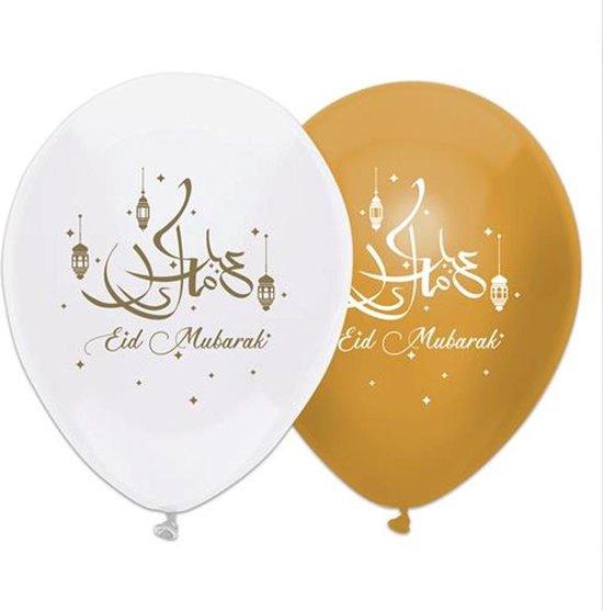 6x stuks Eid Mubarak thema ballonnen wit/goud 30 cm - Suikerfeest/Offerfeest versieringen/decoraties