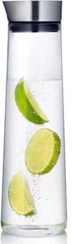 Krumble Karaf van glas - 1000ml - 1 liter - Glazen waterfles - RVS - Tafel water