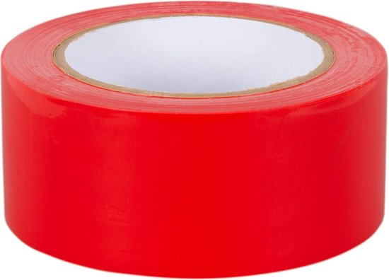 Markeringstape rood 50mm x 33m 1 rol + Kortpack pen (021.0429)
