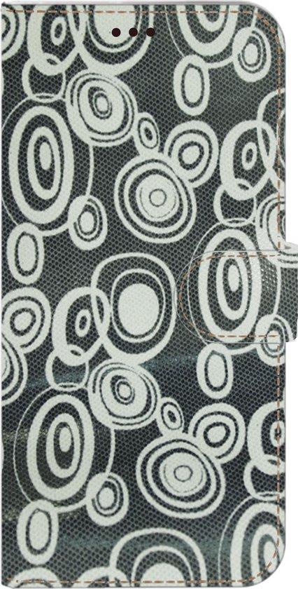 AA-Case Handmade Echt Leer Book Case Voor Mate 30 pro Blauw met witte retroprint