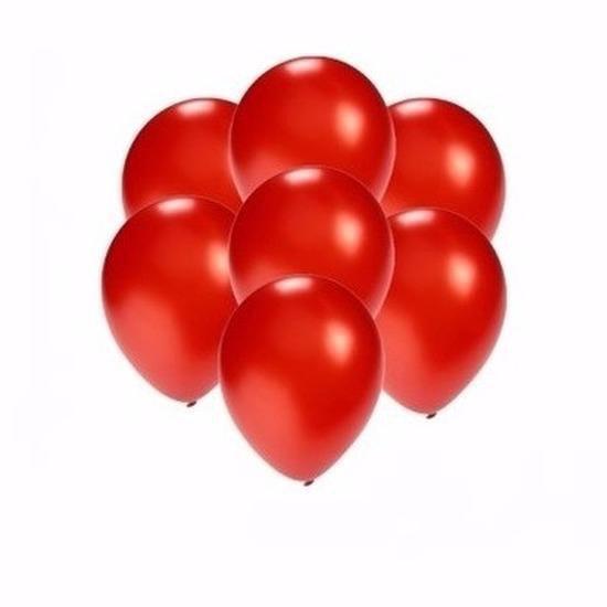 Kleine metallic rode ballonnen 15x stuks - Party feestartikelen in het rood