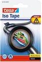 2x Tesa isolatietape rol zwart 10 mtr x 1,5 cm - Klusbenodigdheden - Isolatie tape - Universele tape - Elektriciteitskabels/draden bundelen